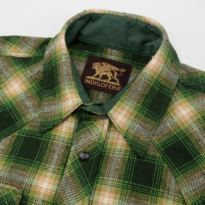 Dawson Heavy Flannel Shirt - Green/Beige/White Check