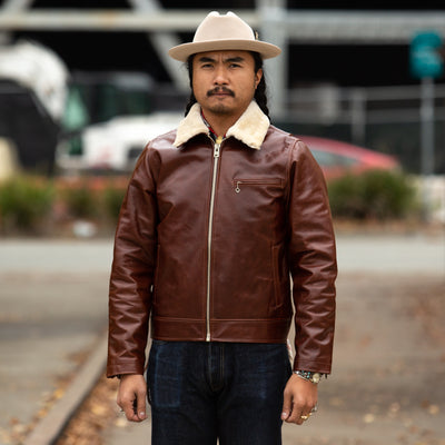 S&S x Freenote FJ-1 Leather Jacket - Cognac Steerhide
