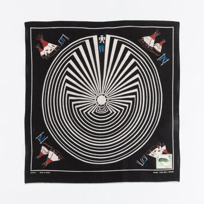 Fastcolor Selvedge Bandanna (DENIM MAN IN BIG MAZE) - Black