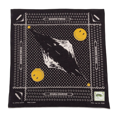 Kapital Fastcolor Selvedge Bandana (Mirrored FUJI Smile) - Black - Standard & Strange