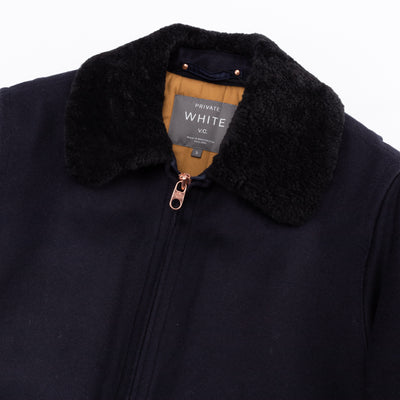 Flight Jacket - Navy Merino Wool