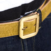 Hand Dyed Single Prong Belt - Moss Green/Natural