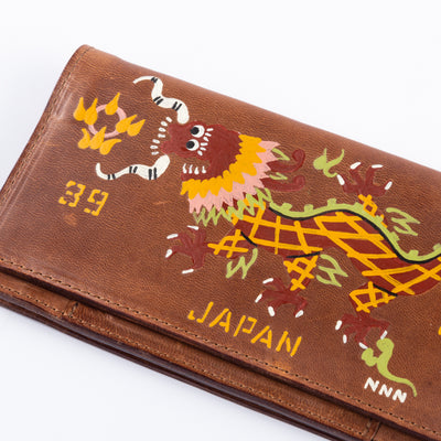 Handpainted Dragon Souvenir Wallet - Brown