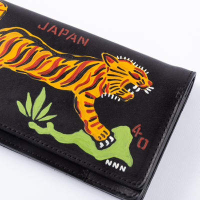 Handpainted Tiger Souvenir Wallet - Black