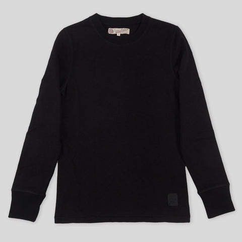 Heavy Slub Jersey Long Sleeve Shirt - Black