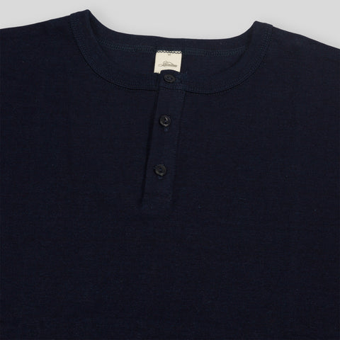 Short Sleeve Heavyweight Henley - Indigo
