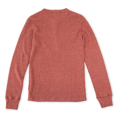Waffle Knit Henley - Red Jaspe Heather