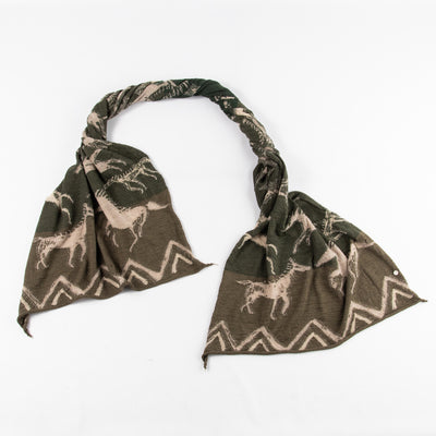 Compressed Wool Scarf - Painted Horses - Green