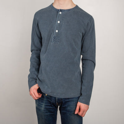 13 oz Henley L/S - Faded Blue