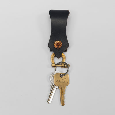 Lucky Horseshoe Shackle Keychain - Horween Navy CXL