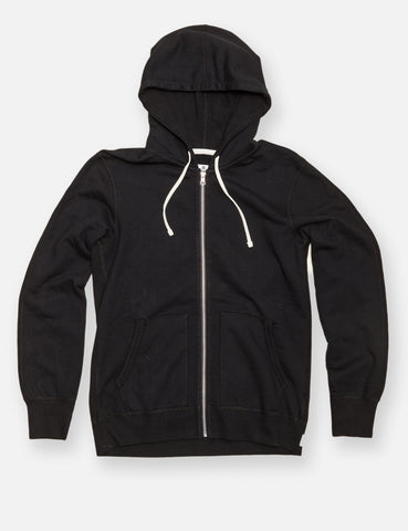 Midweight Twill Terry Zip Hoody - Black