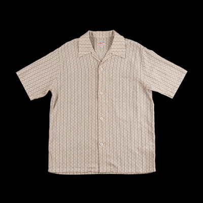 Cotton/Linen Stripe Aloha Shirt - Natural