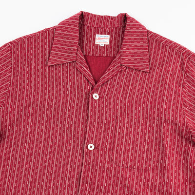 Cotton/Linen Stripe Aloha Shirt - Red
