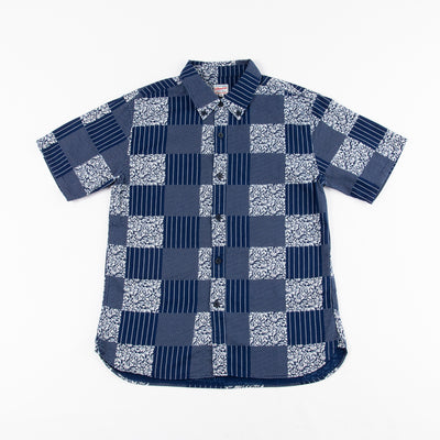 Short Sleeve Indigo Patchwork Shirt