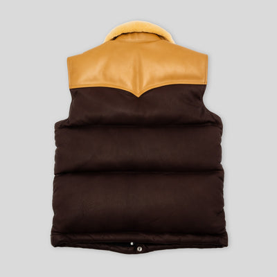 Deerskin Down Vest - Mouton Collar - Brown