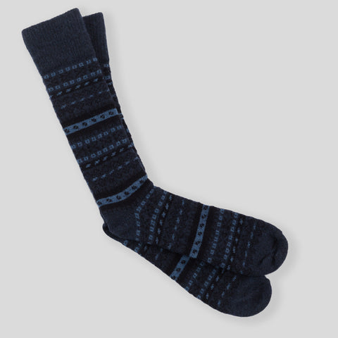Fair Isle Sock - Ink / Black / Navy