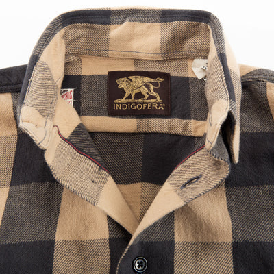 Norris Shirt - Khaki/Charcoal Selvedge Flannel