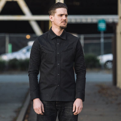 Replicant Western Shirt - Black Twisted Heather