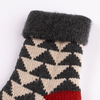 RoToTo Comfy Room Socks - Sankaku Charcoal/Red - Standard & Strange