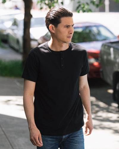 Short Sleeve Heavyweight Henley - Black