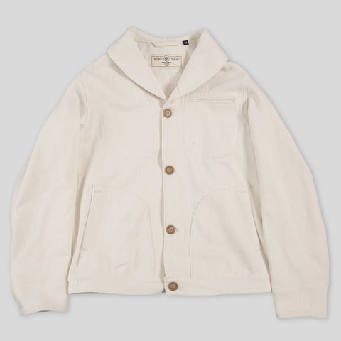Shawl Collar Supply Jacket - Natural Knitted Denim