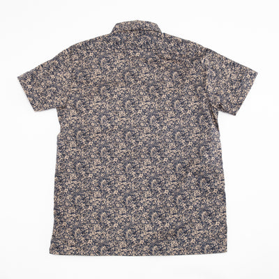 Short Sleeve Popover Shirt - Tan Floral Print