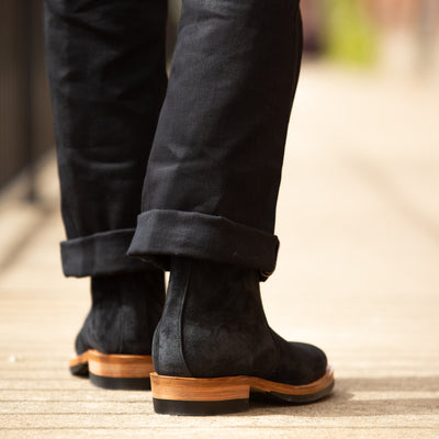 Side Zip Boot - Black Calf Suede - 2050