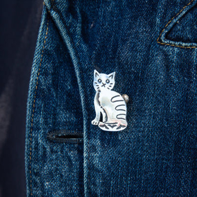Silver Brooch - Cat