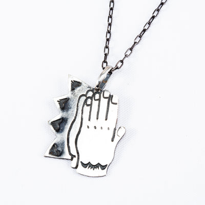 Silver Necklace - Pray Hands