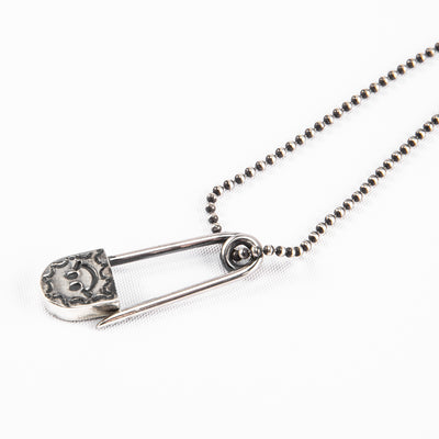 Silver Necklace - Stamped Safety Pin