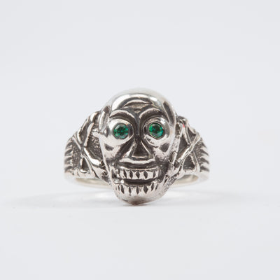 Silver Skull Poison Ring - Green Eyes