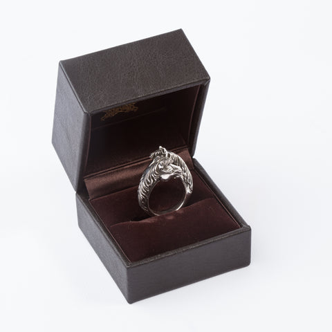 Silver Two Face Horse Ring