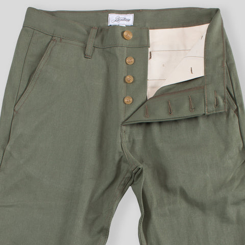 Slim Tapered Chino - Olive Selvedge