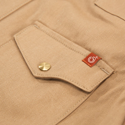 Townes Western Shirt - 11oz Tan Selvedge Twill