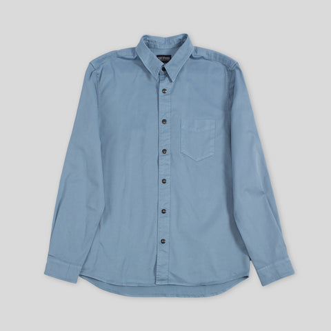 Two Ply Twill Overshirt - Light Blue