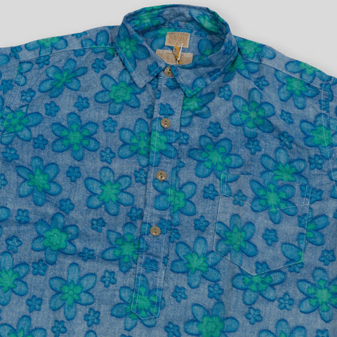 Vacation Shirt - Blue Floral Print