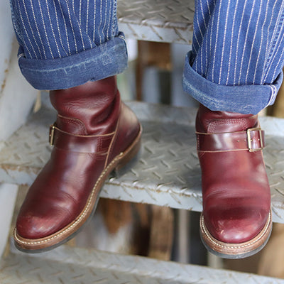 [Pre-order for May 2019 delivery] Engineer Boots - Burgundy Horween CXL