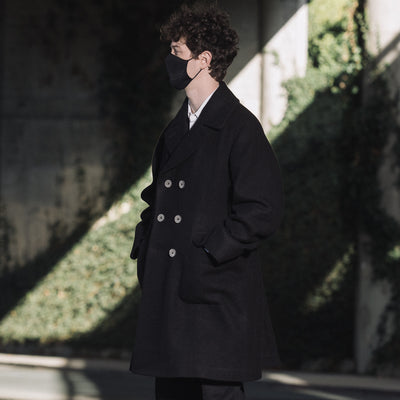 Double Breasted Ulster Coat - English Wool - Black