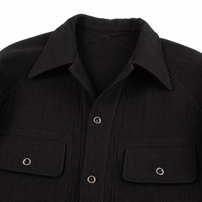CPO Overshirt - Black Granular Wool/Cotton