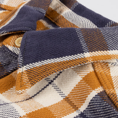 Flannel Shirt - Navy/Gold Check