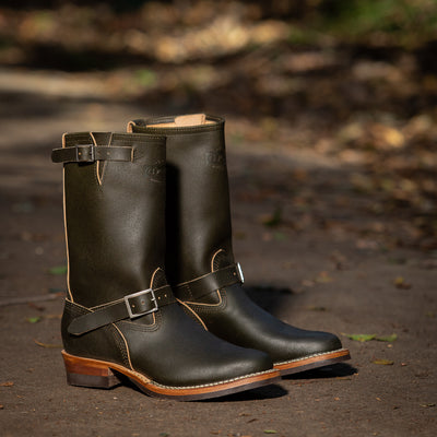S&S x Wesco Quick Striker Engineer Boot - Olive Waxed Flesh