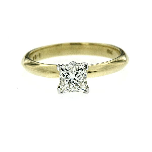 18ct Gold 1.00ct Princess Cut Diamond Solitaire Ring