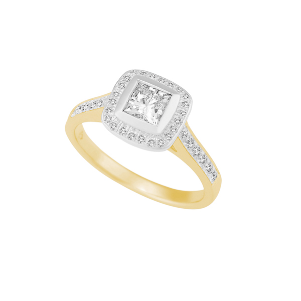 18ct Gold Halo Engagement Ring