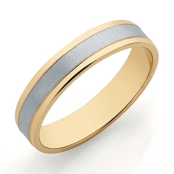 9ct 2-Tone Gold 4mm Band