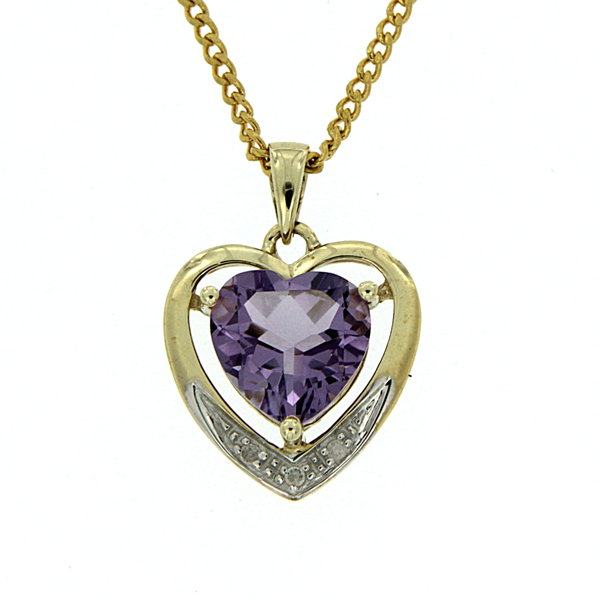 9ct Amethyst & Diamond Pendant