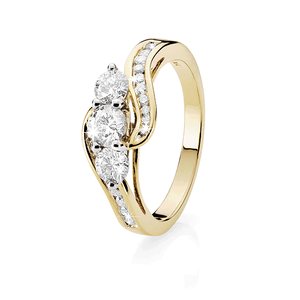 9ct Gold One Carat Diamond Trilogy Ring