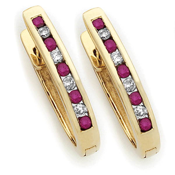 9ct Gold Ruby & Diamond Huggies