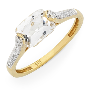 9ct Gold White Topaz & Diamond Ring