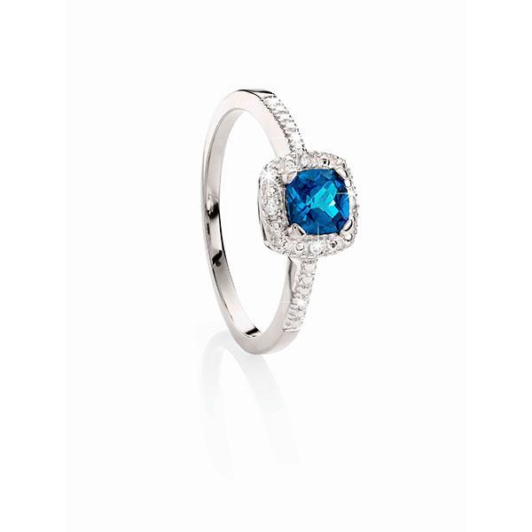 9ct White Gold London Blue Topaz and Diamond Ring