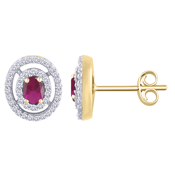 9ct gold ruby and diamond pendant